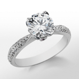 Monique Lhuillier Pavé Leaf Engagement Ring in Platinum