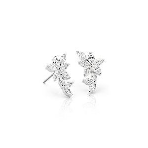 NOUVEAU Grimpeurs d'oreilles diamant marquise Étoile de Monique Lhuillier en or blanc 18carats (1,5carats, poids total)