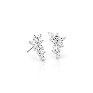 NEW Monique Lhuillier Etoile Marquise Diamond Ear Climbers in 18k White Gold (1.5 ct. tw.)