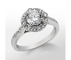 Monique Lhuillier Milgrain Halo Engagement Ring