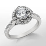 Monique Lhuillier Milgrain Halo Diamond Engagement Ring in Platinum