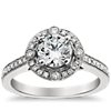 Monique Lhuillier Milgrain Halo Engagement Ring in Platinum