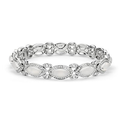 Monique Lhuillier Moonstone and Diamond Bracelet in 18k White Gold
