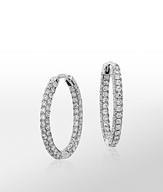 Monique Lhuillier Oval Diamond Hoop Earrings