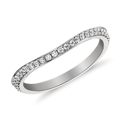 Monique Lhuillier Curved Pavé Diamond Ring in Platinum (1/8 ct. tw.)