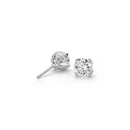 Monique Lhuillier Pavé Petal Diamond Earrings in Platinum (2.00 ct. tw.)