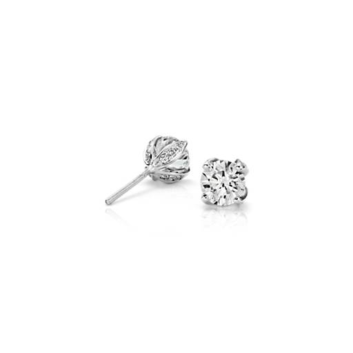 Pavé Petal Diamond Earrings in Platinum (1.50 ct. tw.)