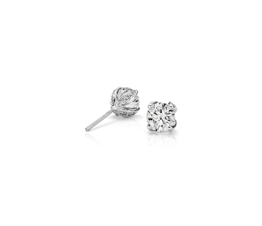 Monique Lhuillier Pavé Petal Diamond Earrings in Platinum (1.50 ct. tw.)
