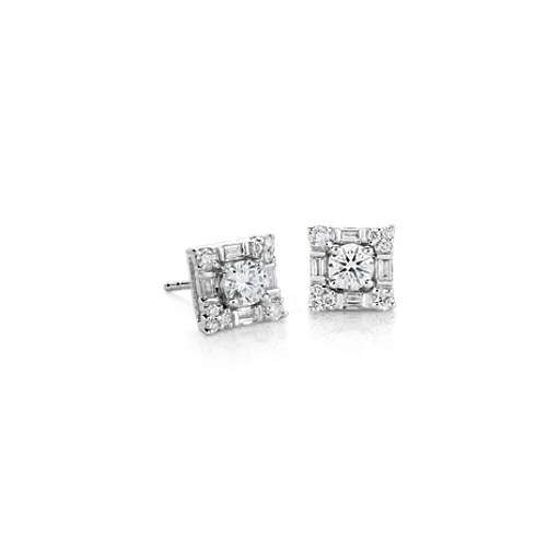 NEW Monique Lhuillier Diamond Earrings in 18k White Gold