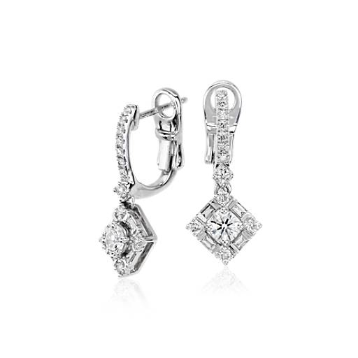 NEW Monique Lhuillier Diamond Drop Earrings in 18k White Gold