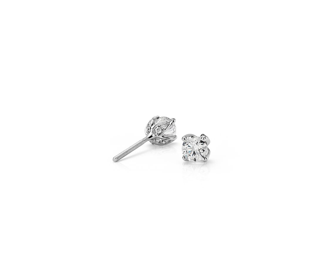 Monique Lhuillier Pavé Petal Diamond Earrings in Platinum (0.50 ct. tw.)