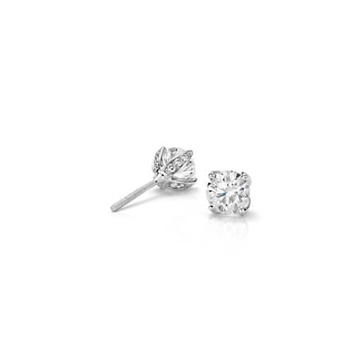 Boucles d'oreilles diamant pétales Monique Lhuillier en platine (1carat, poids total)