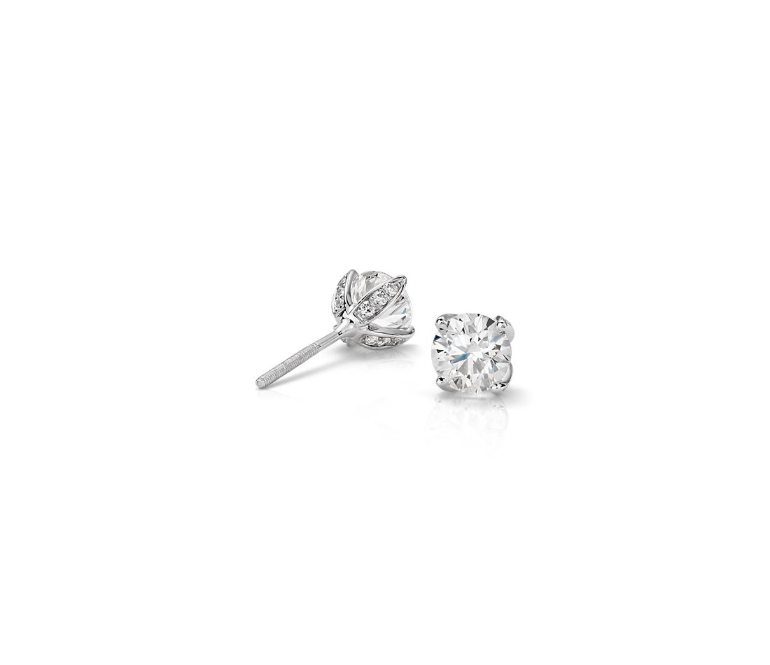 Monique Lhuillier Pavé Petal Diamond Earrings in Platinum (1.00 ct. tw.)