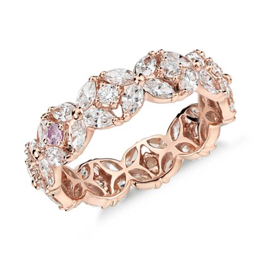 NEW Monique Lhuillier Petal Garland Diamond Eternity Ring in 18k Rose Gold
