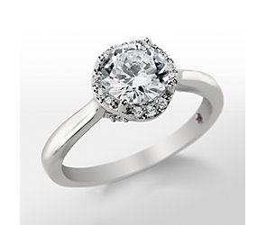 Monique Lhuillier Petite Draping Halo Engagement Ring