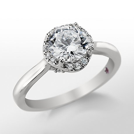 Monique Lhuillier Draping Halo Diamond Engagement Ring