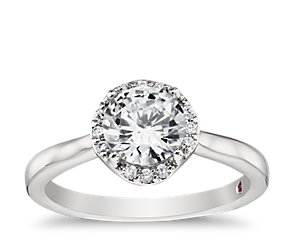 Monique Lhuillier Petite Draping Halo Engagement Ring in Platinum