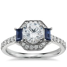 Monique Lhuillier Sapphire Diamond Halo Engagement Ring in Platinum