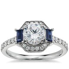 Monique Lhuillier Sapphire Diamond Halo Engagement Ring