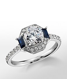 Monique Lhuillier Sapphire Diamond Halo Engagement Ring