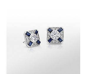 Monique Lhuillier Blue Sapphire and Diamond Deco Stud Earring