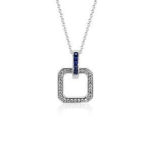 Pendentif géométrique diamant et saphir bleu Monique Lhuillier en or blanc 18carats