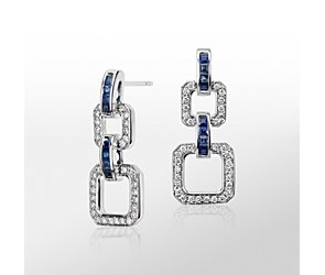Monique Lhuillier Blue Sapphire and Diamond Geometric Drop Earring