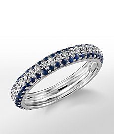Monique Lhuillier Three Row Sapphire and Diamond Pavé Band