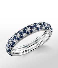 Monique Lhuillier Sapphire and Diamond Pavé Floral Band