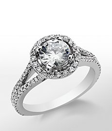 Monique Lhuillier Split Shank Halo Diamond Engagement Ring