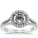 Monique Lhuillier Split Shank Halo Engagement Ring in Platinum