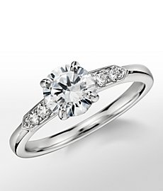 Monique Lhuillier Tapered Shoulders Diamond Engagement Ring