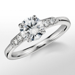 Monique Lhuillier Tapered Shoulders Diamond Engagement Ring in Platinum