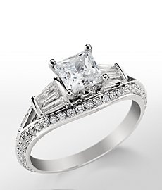 Monique Lhuillier Tapered Baguette Diamond Engagement Ring