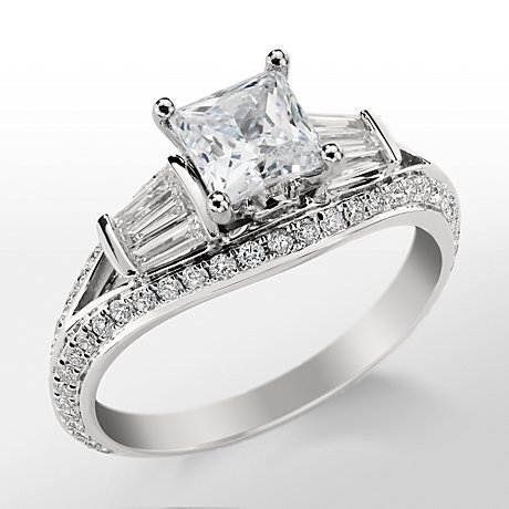 Monique Lhuillier Tapered Baguette Engagement Ring