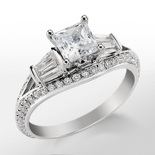 Monique Lhuillier Tapered Baguette Diamond Engagement Ring in Platinum