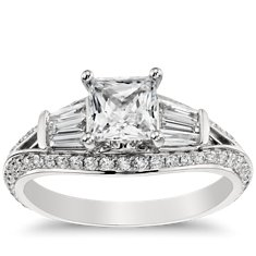 Monique Lhuillier Tapered Baguette Engagement Ring in Platinum
