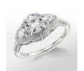 Monique Lhuillier Three Stone Diamond Engagement Ring
