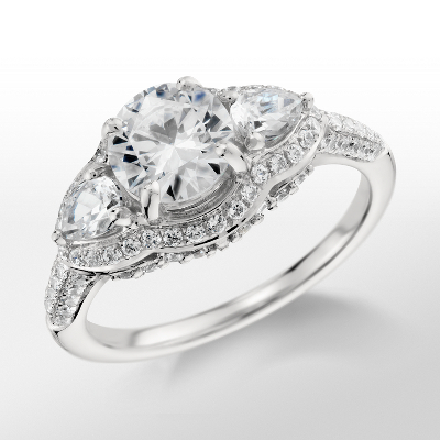 Monique Lhuillier Three Stone Diamond Engagement Ring in Platinum