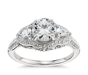 Monique Lhuillier Three Stone Engagement Ring in Platinum