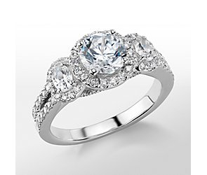 Monique Lhuillier Three-Stone Halo Pavé Diamond Engagement Ring
