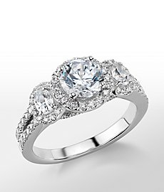 Monique Lhuillier Three-Stone Halo Pave Diamond Engagement Ring
