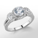 Monique Lhuillier Three-Stone Halo Pave Diamond Engagement Ring in Platinum (3/4 ct. tw.)