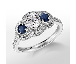 Monique Lhuillier Three-Stone Halo Sapphire and Diamond Engagement Ring