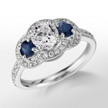 Monique Lhuillier Three-Stone Halo Sapphire and Diamond Engagement Ring in Platinum