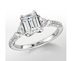 Monique Lhuillier Trillion Cut Diamond Engagement Ring