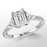 Monique Lhuillier Trillion Engagement Ring in Platinum