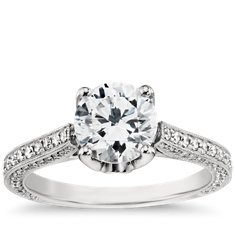 Monique Lhuillier Trio Cathedral Engagement Ring in Platinum