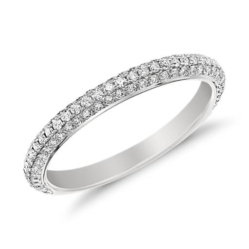 Anillo de diamantes Trío de Monique Lhuillier en platino (1/2 qt. total)