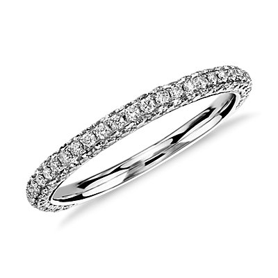 Bague trio en diamants sertis micro-pavé Monique Lhuillier en platine